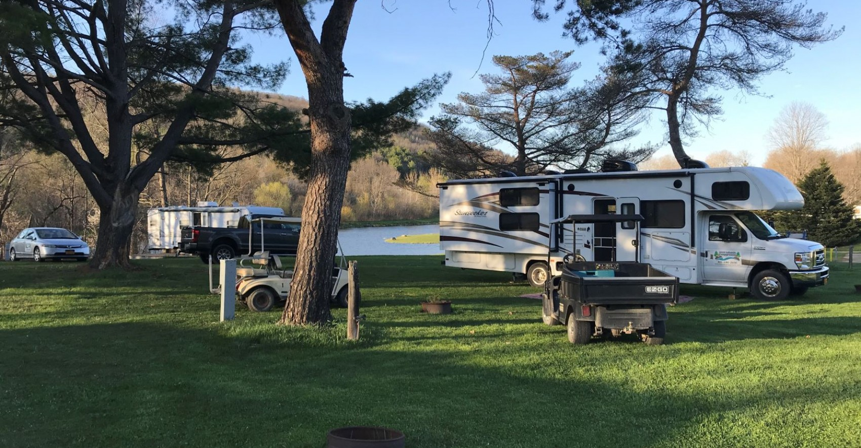 Picture of spacious campsite with RV &